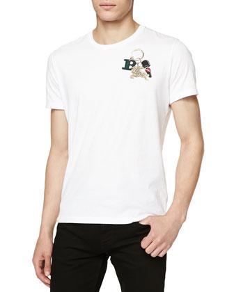 Keychain-Print T-Shirt, White