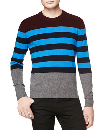 Multicolor Striped Crew Sweater