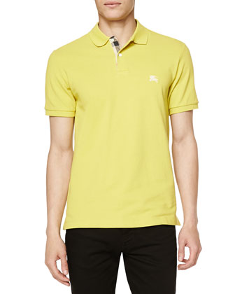Short-Sleeve Pique Polo Shirt, Yellow