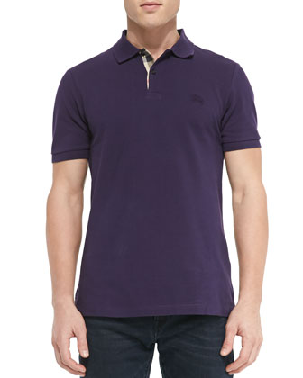 Pique Short-Sleeve Polo Shirt, Purple