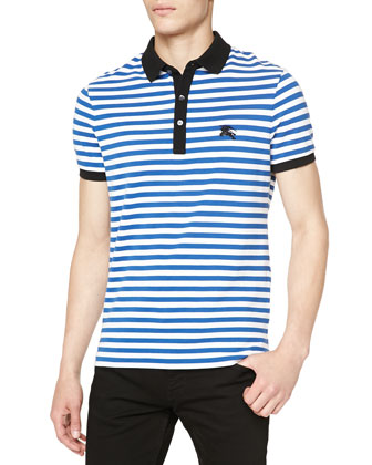 Striped Pique Polo w/ Logo