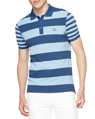 Short-Sleeve Striped Polo Shirt, Light Blue