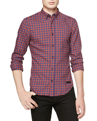 Long-Sleeve Button-Down Check Shirt