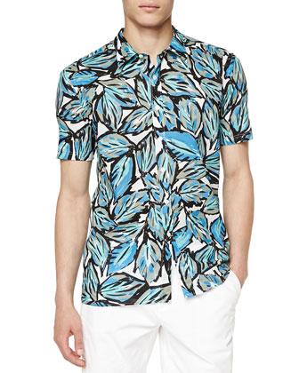 Short-Sleeve Leaf-Print Shirt