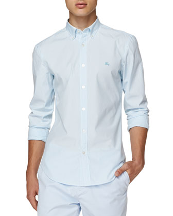 Long-Sleeve Pinstriped Oxford Shirt, Light Blue