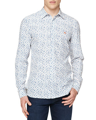Soft Patch-Pocket Blazer & Brushstroke-Print Silk/Cotton Shirt