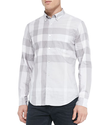 Exploded Check Sport Shirt, Gray