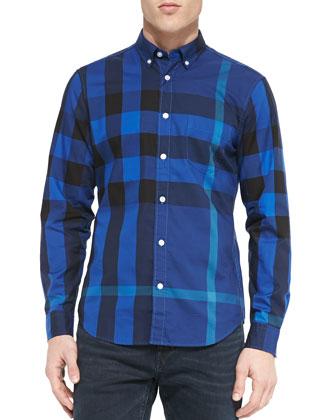 Exploded Check Sport Shirt, Blue