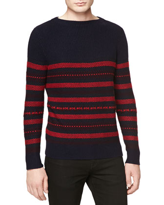 Fair Isle Striped Crew Sweater