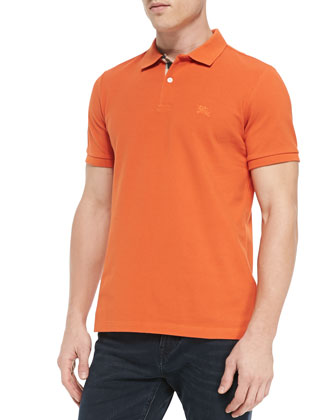 Pique Short-Sleeve Polo Shirt, Orange
