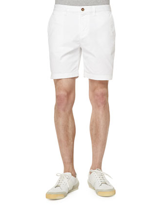Cotton-Blend Shorts, White
