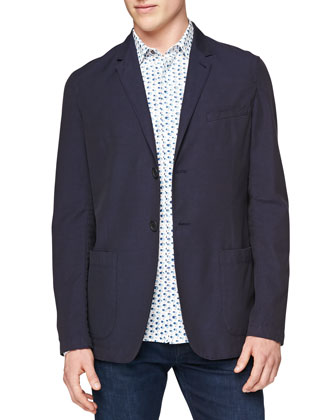 Soft Patch-Pocket Blazer & Brushstroke-Print Silk/Cotton Shirt