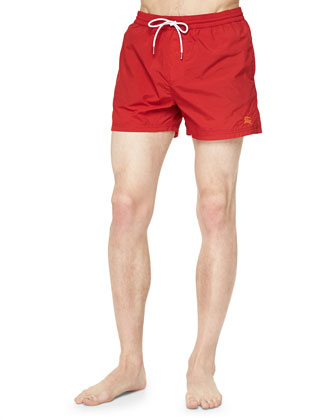 Solid Short Swim Trunks, Red