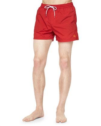 Solid Short Swim Trunks, Red