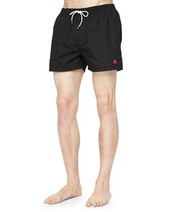 Solid Short Swim Trunks, Black