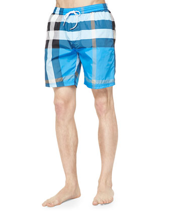 Check-Print Swim Trunks, Blue