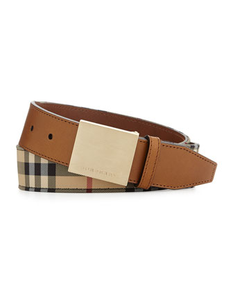 Horseferry Check Men's Belt with Plaque Buckle, Tan
