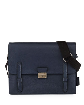 Rivendale Grained Leather Messenger Bag, Navy