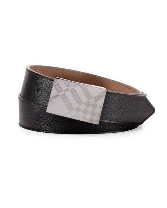 Leather Check-Buckle Belt, Black