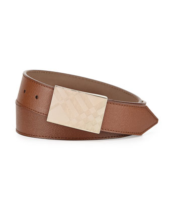 London Leather Alan Embossed Check Plaque Belt, Dark Tan