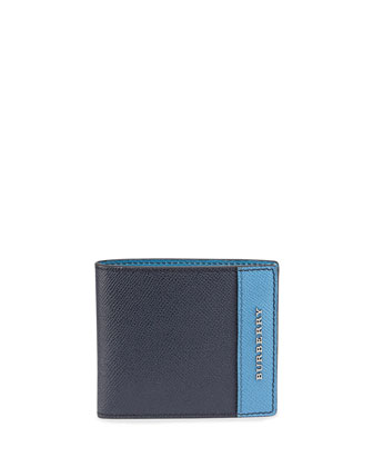 Colorblocked Bi-Fold Wallet, Navy/Light Blue
