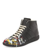 Splatter-Detail Mid-Top Replica Sneaker, Black