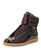 Future Tortoise-Patent High-Top Sneaker, Brown