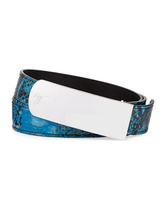 Men's Crocodile-Stamped Plaque Belt, Blue
