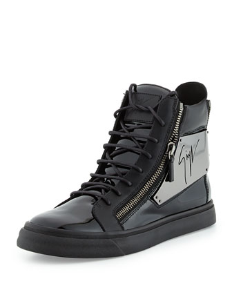Men's Patent Logo-Plate High-Top Sneaker, Black