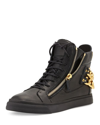 Chain-Back High-Top Sneaker