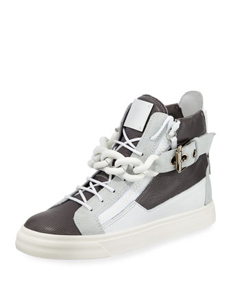 Colorblock Leather Chain High-Top Sneaker
