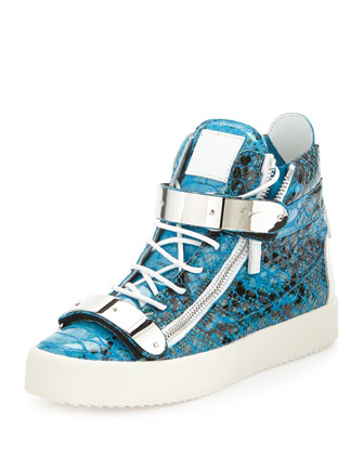 Men's Snake-Print High-Top Sneaker, Turquoise