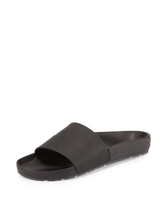 Contrast Moustache Slide Sandal, Black/Gray