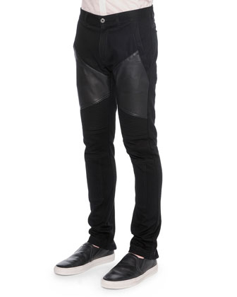 Moto Jeans with Leather Insets, Black