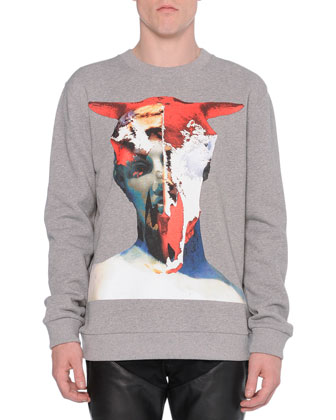 Bull-Skull Graphic Sweatshirt & Moto Jeans with Leather Insets