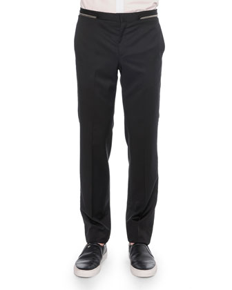 Zipper-Waist Trimmed Trousers, Black