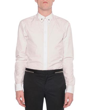 Collarless Zipper-Trim Jacket, Metal-Star-Collar Woven Shirt & Zipper-Waist ...