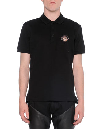 Polo with Rottweiler-Embroidery & Moto Jeans with Leather Insets, Black