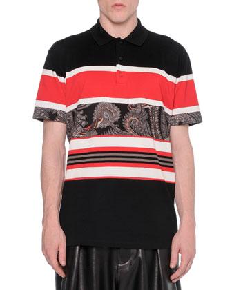 Paisley-Stripe Polo Shirt
