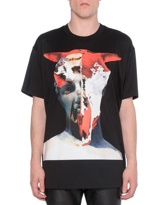 Bull-Skull Graphic Cuban Tee & Moto Jeans with Leather Insets