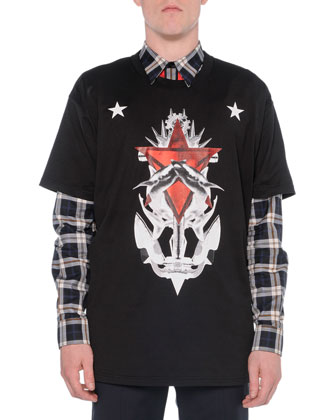 Star & Shark Graphic Tee, Black