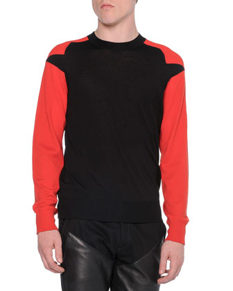 Contrast-Sleeve Crewneck Sweater, Black