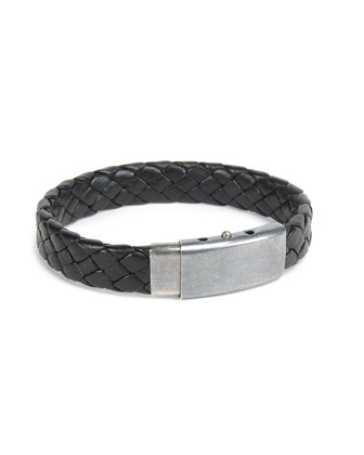 Men's Woven Leather Bracelet, Black