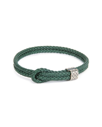 Men's Woven Leather Knot Bracelet, Green