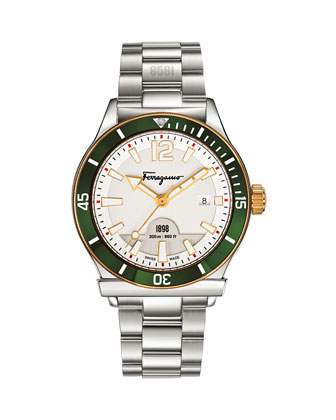 1898 Green-Bezel Bracelet Watch