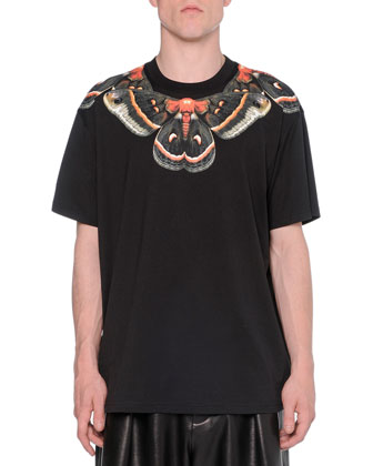 Moth-Print Cuban Tee, Black