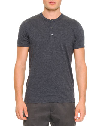 Short-Sleeve Henley Tee, Gray