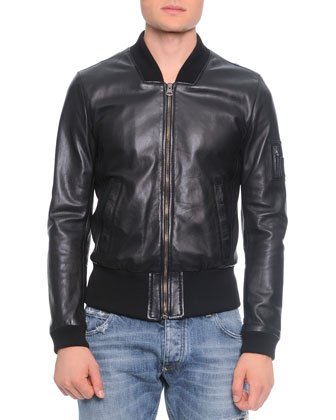 Leather Bomber Jacket, Short-Sleeve Henley T-Shirt & Destroyed Washed Denim ...