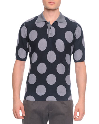 Big-Dot Silk Polo Shirt