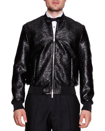 Coated Wool Evening Blouson Jacket, Black